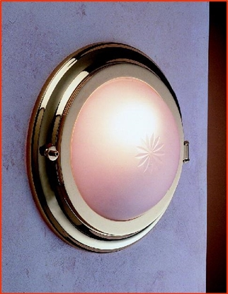 Picture of Round brass bulkhead wall light