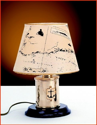 Picture of Polished brass table Lamp on a wooden base