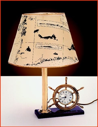 Picture of Polished brass Lamp and Clock on a wooden base