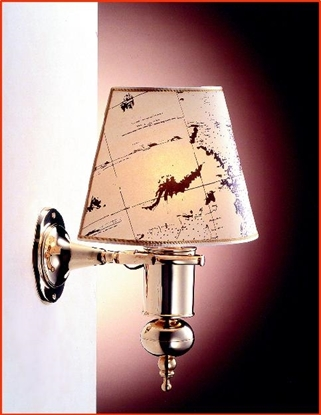 Picture of Electric Gimbal Wall Light with printed parchment shade