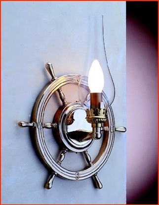 Picture of Brass ship's wheel electric wall light