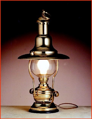 Picture of Brass electric table lamp on wooden base