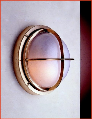 Picture of Brass bulkhead wll light with frosted glass wall projection