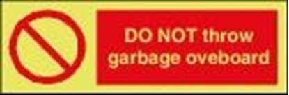Picture of Garbage Sign-do not throw garbage overboard 30x10