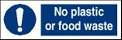 Picture of Garbage Sign-no plastic or food waste 30x10