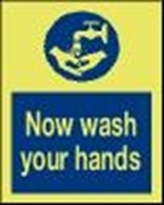 Picture of Safety Sign-now wash hands 15x20