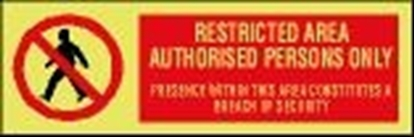 ISPS sign-Restricted area authorised persons only, 30x10 cm
