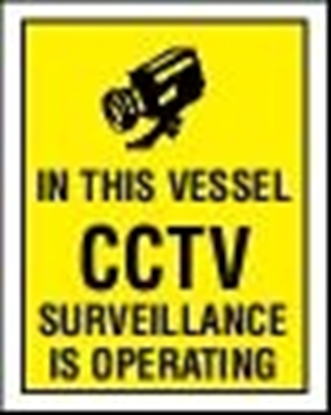 ISPS sign-Cctv surveillance, rigid PVC, 15x20 cm