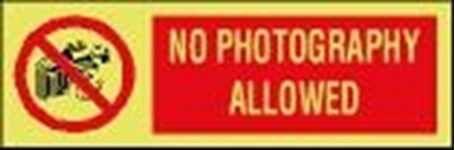 ISPS sign-No photography allowed, 30x10 cm