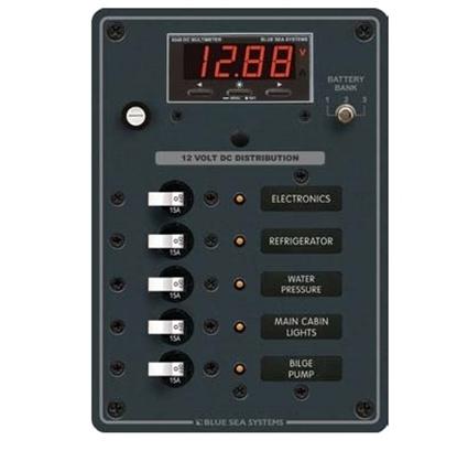Quadro eléctrico 5 circuitos - 12V - 15A