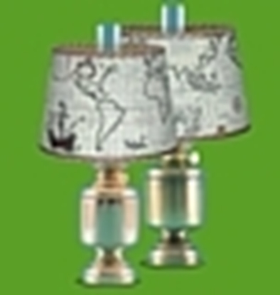 Picture of Table lamp large with seachart shade