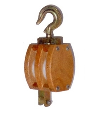 Picture of Wood double block with swivel hook