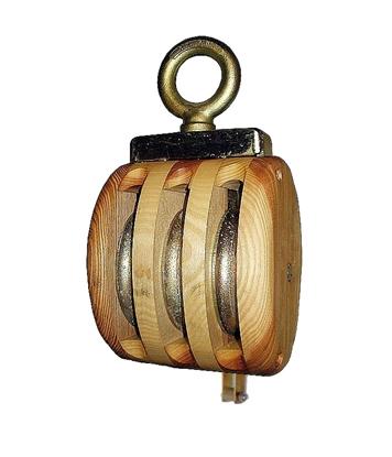 Picture of Cadernal de 3 rodas em madeira com olhal giratório e arreigada