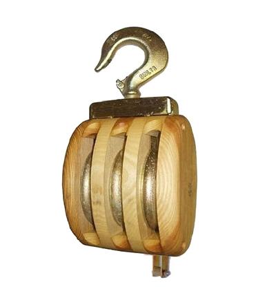 Cadernal  de 3 rodas em madeira com gancho giratório e arreigada