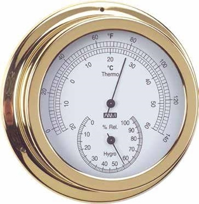 Termo-higrómetro em latão polido de lacado 150mm