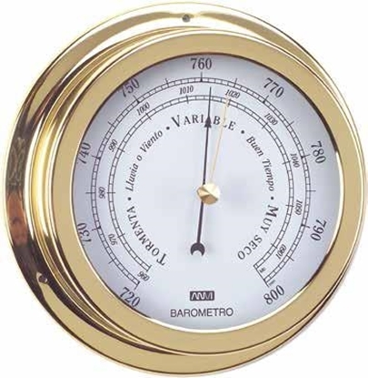 Picture of Polished brass and lacquered barometer 150mm