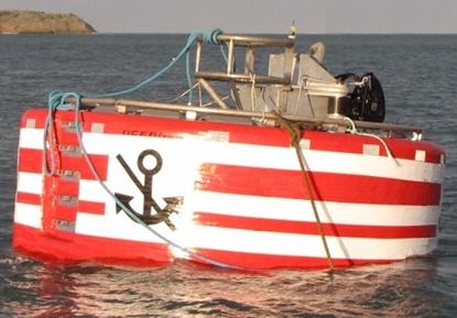 Angled steel frame mooring buoy