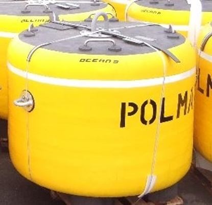 Floating barrier mooring buoy