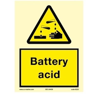 Picture of Warning Sign-battery acid 15x20