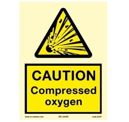 Picture of Warning sign-Caution compressed oxi..15x20