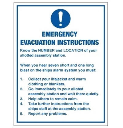 Picture of Emergency evacuation instructions 15x20