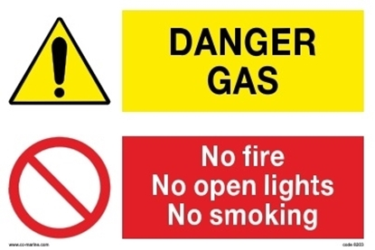 Multipurpose sign- Danger gas/no fire...30x20 IMPA 33.30.10