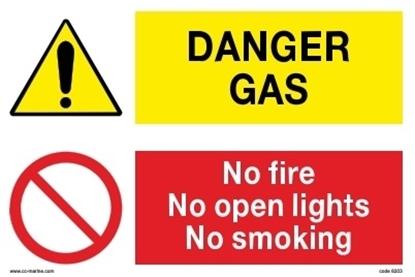 Multipurpose sign- Danger gas/no fire...30x20 IMPA 33.30.10