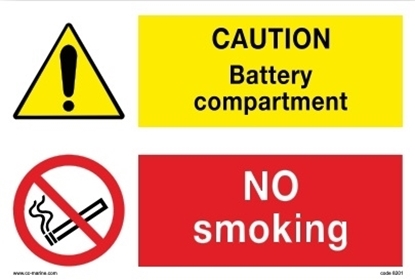 Multipurpose sign-Caut.bat/no Smok.30x20 IMPA 33.30.13