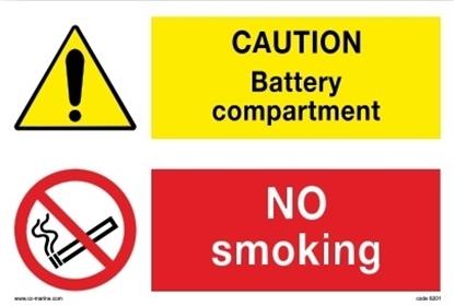 Picture of Multipurpose sign-Caut.bat/no Smok.30x20 IMPA 33.30.13