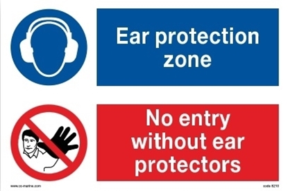 Multipurpose sign-Ear protection/no entry 30x20