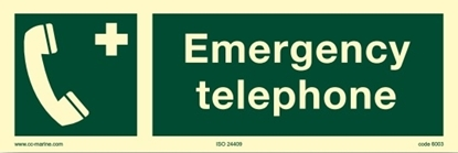 IMO Sign-emergency tel 30x10