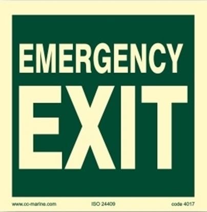 Picture of IMO Sign-exit for emergency use only 15x1
