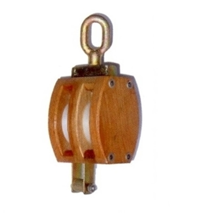 Cadernal de 2 rodas em madeira com olhal giratório e arreigada